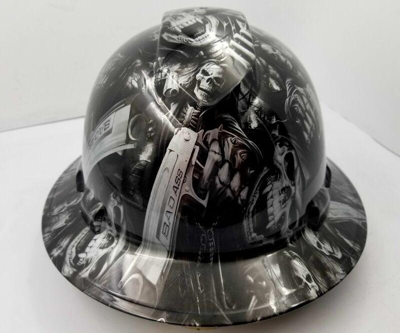 FULL BRIM Hard Hat custom hydro dipped SILVER  N BLACK GRIM REAPER SHOOTER SKULL