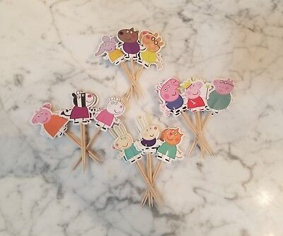 Peppa Pig Cupcake Toppers Picks Kids Birthday Party Supplies 24pcs - Peppa Pig Cupcakes Toppers