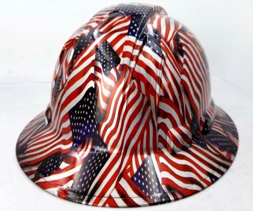 Hard Hat FULL BRIM custom hydro dipped , OSHA approved USA FLAG AMERICAN FLAG 2
