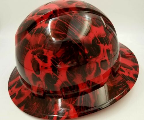 FULL BRIM Hard Hat custom hydro dipped , NEW RED MELTING SKULL WICKED HOT NEW 1