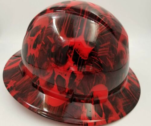 FULL BRIM Hard Hat custom hydro dipped , NEW RED MELTING SKULL WICKED HOT NEW 2