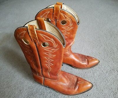 """Vintage Acme Western Boots Size 11 D 1970s Leather lined pegged constr 13"""" shaft"""