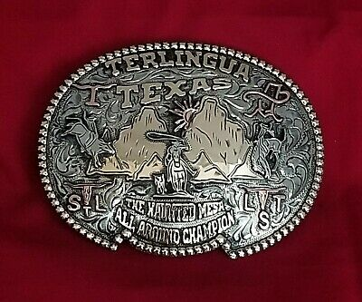 RODEO TROPHY BELT BUCKLE~TERLINGUA TEXAS ALL AROUND CHAMPION VINTAGE 655