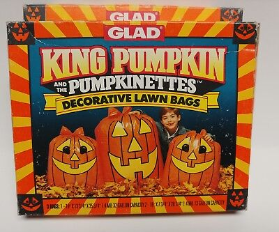 Lot of 2 Glad King Pumpkin and The Pumpkinettes Decorative Lawn Bags 1991  NOS - Happy Halloween French
