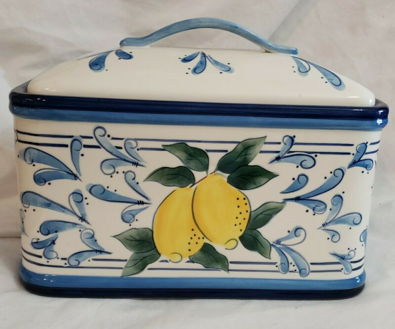 Inspirado Bread Box Lidded Ceramic Lemon Cookie Canister Seattle USA Stonelite