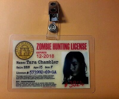 The Walking Dead Zombie Hunting License ID Badge -Tara Chambler cosplay - The Walking Dead Zombie Costumes