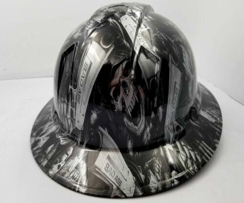 FULL BRIM Hard Hat custom hydro dipped SILVER N BLACK GRIM REAPER SHOOTER SKULL 3