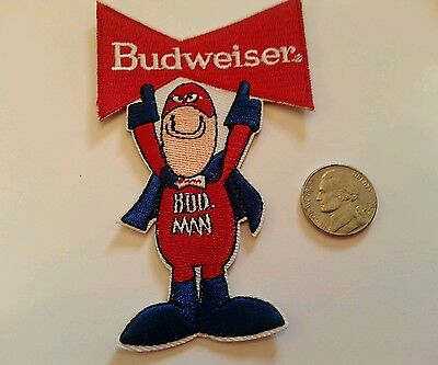 """Budweiser Bud Man embroidered iron on patch 4"""" x 2.5"""" Beer High Quality A1"""
