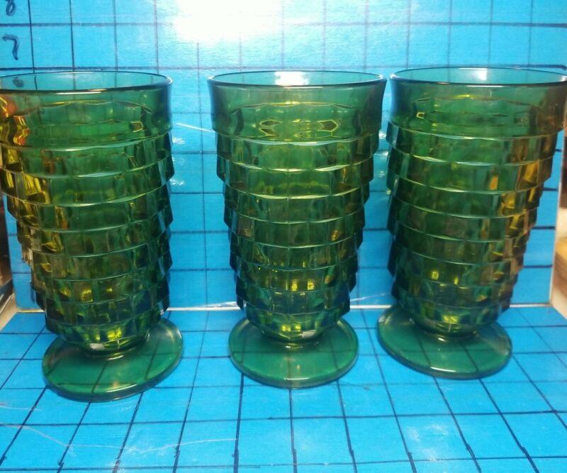 3 Indiana Glass Iced Tea Glasses Footed Whitehall Fostoria 14oz Avocado Green