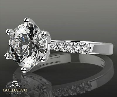 2.14 CTW  Ring D/VVS1 Engagement Round Cut 14k White Real Solid Gold