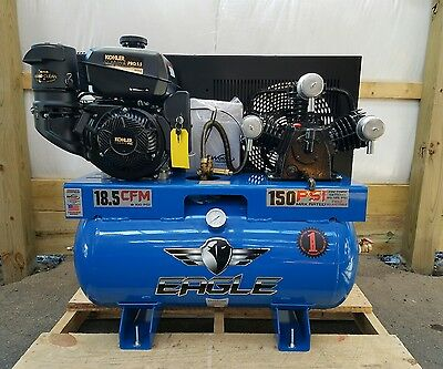 9.5hp Gas Eagle 30 Gallon Tank Kohler Es Air Compressor 18.5 Cfm 100 Psi