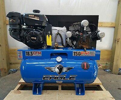 9.5HP Gas Eagle 30 Gallon Tank Kohler ES Air Compressor 18.5 CFM @ 100 PSI