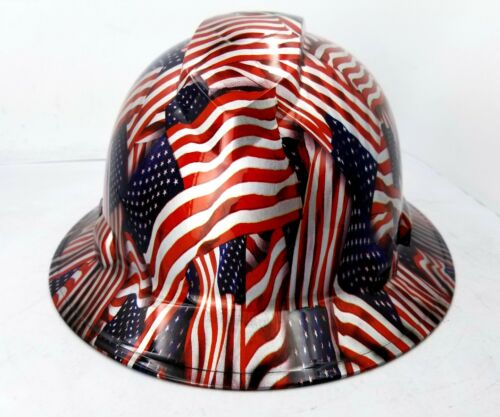 Hard Hat FULL BRIM custom hydro dipped , OSHA approved USA FLAG AMERICAN FLAG