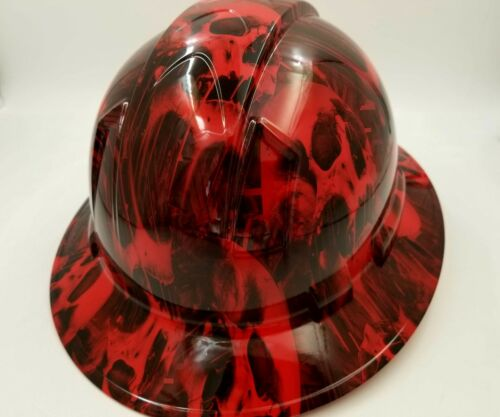 FULL BRIM Hard Hat custom hydro dipped , NEW RED MELTING SKULL WICKED HOT NEW 3