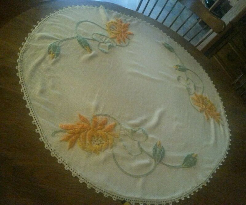 Antique Doily Topper Tablecloth Silk Embroidered Era Arts Crafts Mission