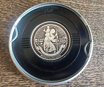 GENUINE DESMO ST.CHRISTOPHER TAX DISC LICENCE NUSTIKON HOLDER BLACK CLASSIC CAR