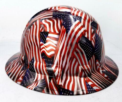 Hard Hat FULL BRIM custom hydro dipped , OSHA approved USA FLAG AMERICAN FLAG 3