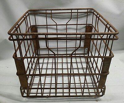 Metal Milk Crate Vintage Metal Bottle Tote Wire~industrial~ borden