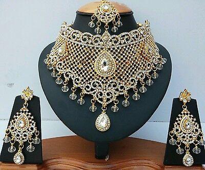 Schmuck Set 3 Teilig Gold Kristall Fest Halskette Bollywood Indien Hochzeit  ()