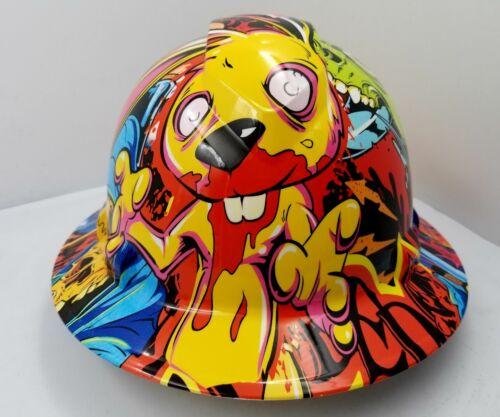 FULL BRIM Hard Hat custom hydro dipped , NEW Graffiti extreme killer rabbit