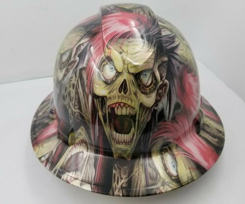 Hard Hat FULL BRIM custom hydro dipped , OSHA approved PUNK ROCK CYBORG KILLER