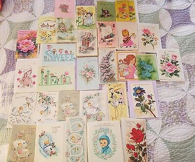 Mixed Lot 30 Unused Sweet Vintage Greeting Cards Birthday Baby Get Well Crafts