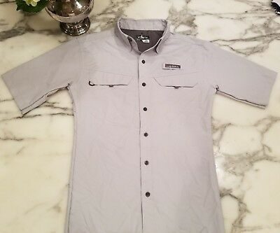HABIT Vented Fishing SS SHIRT MEN Sz S/M Light GrayOutdoor 40+ Solar Factor EUC! for sale  Shipping to Canada