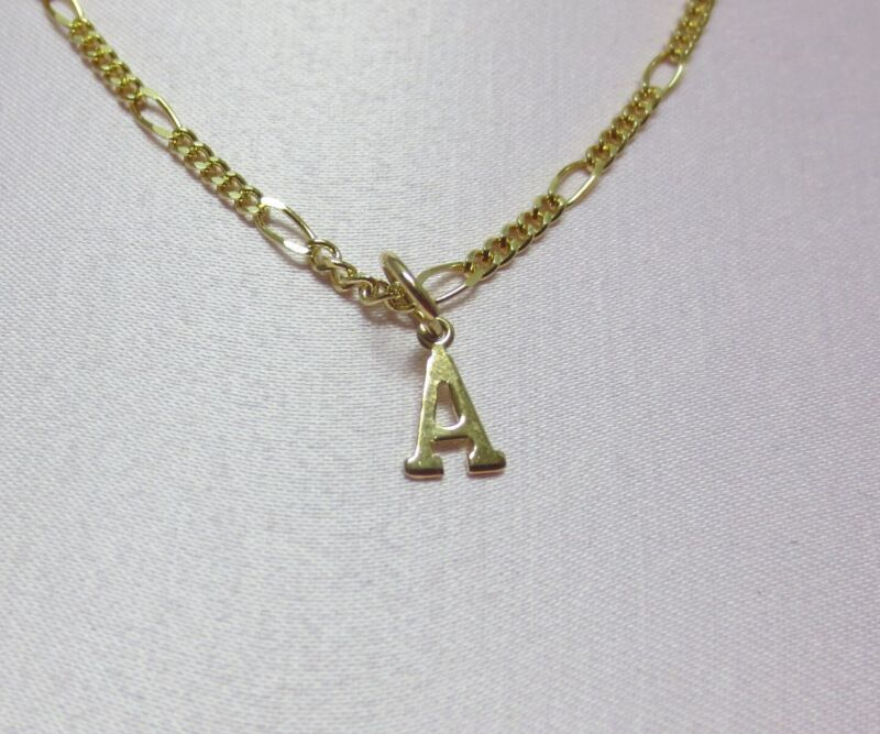 14KT  GOLD EP 15 INCH 2MM FIGARO CHILDRENS COMFORT  NECKLACE WITH YOUR INITIAL