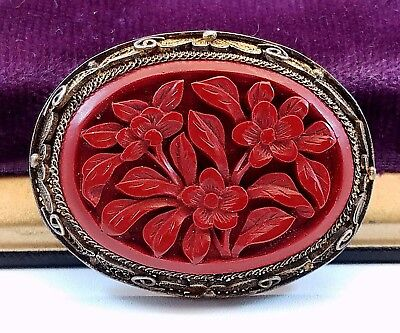 Vintage Asian Filigree Carved Rich Red Floral Cinnabar Pin Brooch Marked Silver