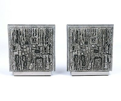 Vtg Mid Century Modern Brutalist Bookends Paul Evans Style Matina 3M Book Ends