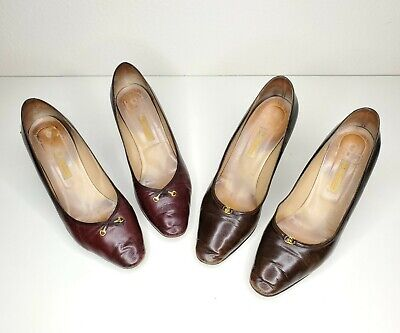 Vintage GUCCI Heels Pumps Womens Shoes 37 1/2 Italy | 2 Pair | Cobbler's Special