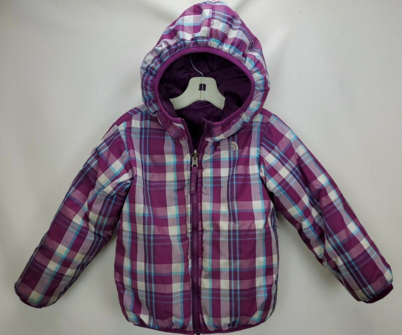 The North Face 550 Down Puffer Jacket Coat Toddler 4T Purple Reversible Hooded