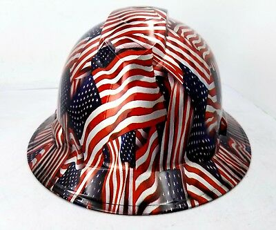 Custom Ridgeline Wide Brim Hard Hat Osha Hydro Dipped Usa American Flags Sick
