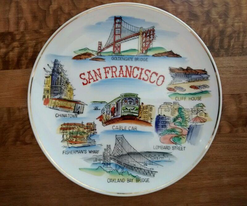 VINTAGE Souvenir San Francisco California Famous Sites Attractions Plate Japan