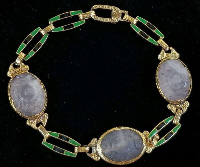 Krementz Antique  Art Deco 14k Gold Enamel Rose Quartz Bracelet-Estate Jewelry