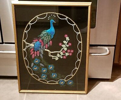 Hand Embroidered Beaded Framed 17 3/4