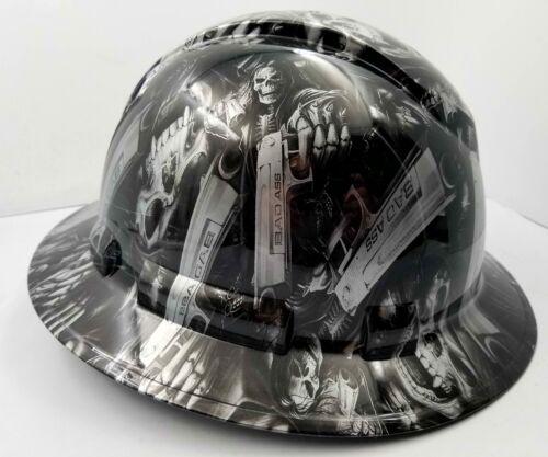 FULL BRIM Hard Hat custom hydro dipped SILVER N BLACK GRIM REAPER SHOOTER SKULL 1