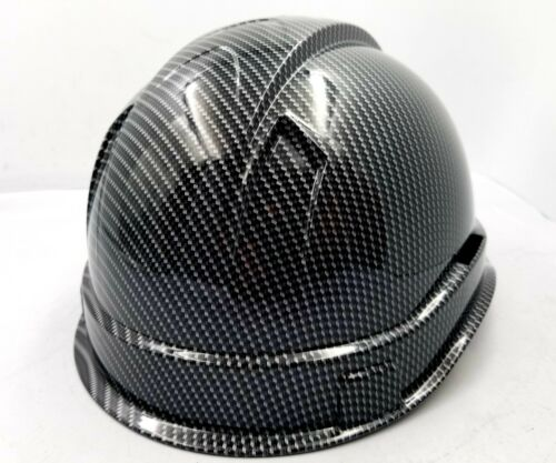 Hard Hat custom hydro dipped , OSHA approved , NEW TRUE WEAVE CARBON FIBER 3