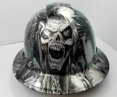 Full Brim Hard Hat Custom Hydro Dipped Silver N Black Cyborg Skull Sick New