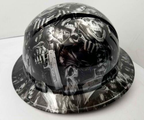 FULL BRIM Hard Hat custom hydro dipped SILVER N BLACK GRIM REAPER SHOOTER SKULL 2