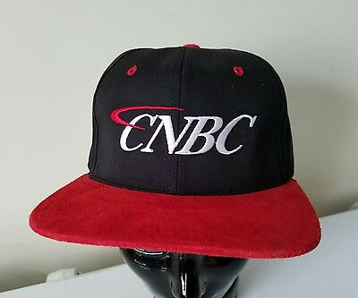 Cnbc News Channel Vtg Suede Embroidered First In Business Talk Baseball Cap Hat