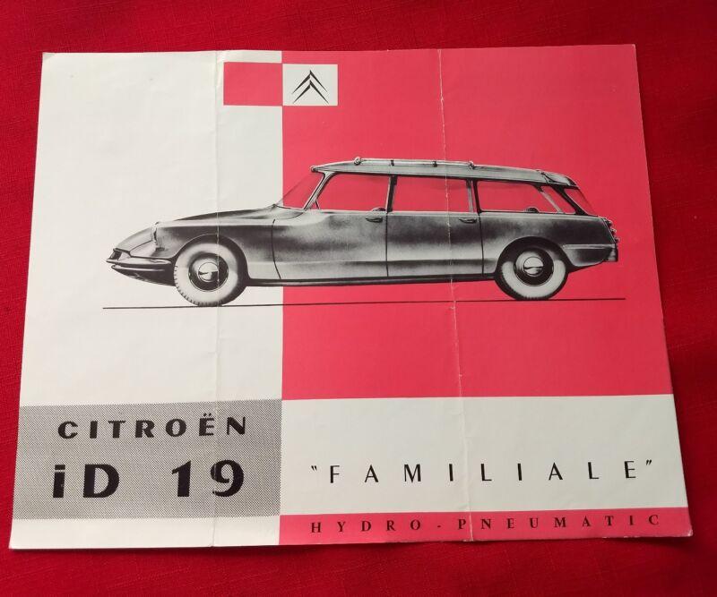 Vintage Citroen iD19 Familiale Hydro-Pneumatic Double Sided Brochure