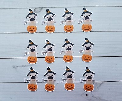 Halloween Witch Pug Sitting On A Pumpkin Die Cuts, Embellishments, Punchies - Witches On Halloween