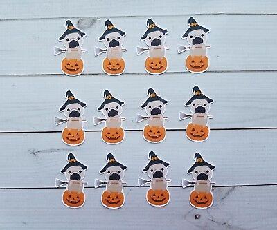 Died On Halloween (Halloween Witch Pug Sitting On A Pumpkin Die Cuts, Embellishments,)