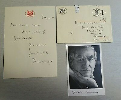 Autograph - Dennis Healey - House of Lords photo and personal letter
