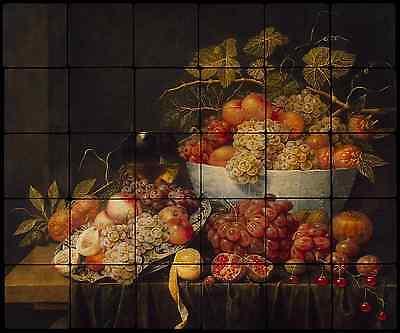 24x20 Grapes Backsplash Mural Tumbled Marble Tiles Kitchen Ideas Van Utrecht