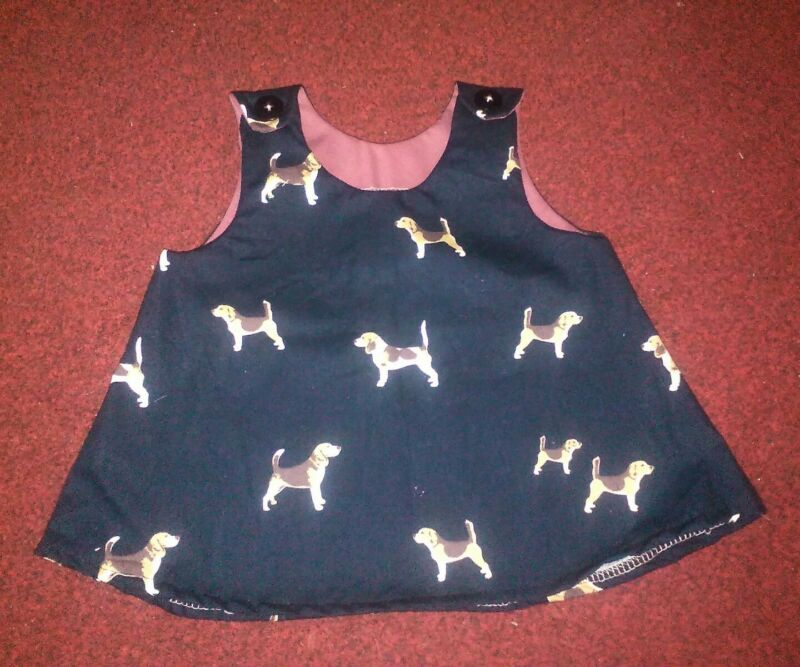 girls+top+navy+blue+with+beagle+dogs+age+1-2+custom+made