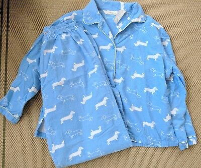 Jasmine Rose Blue DOG Flannel Pajama Shirt/Pants Set Sz L Dachshund Wiener Dog