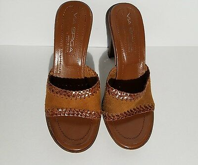 Via Spiga Brown Tan  Leather Suede Slip On Shoes Slide Sandals Sz 7M Italy