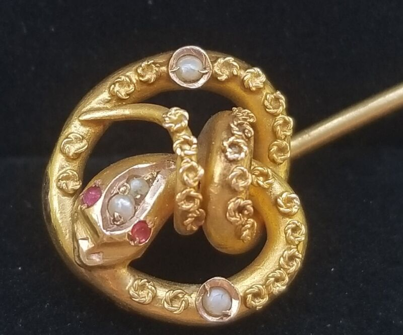Antique Victorian 18k Gold Ruby Pearl Snake Serpent Stick Pin-Reptile Jewelry